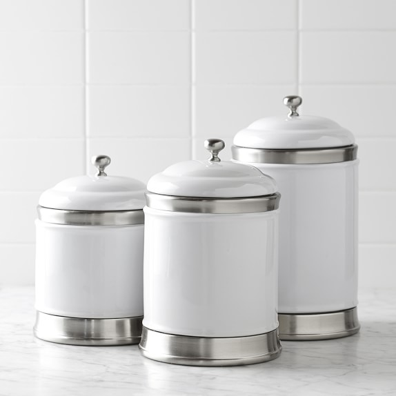Williams Ceramic Canisters Set Of 3 Kitchen Counter Organizers Sonoma