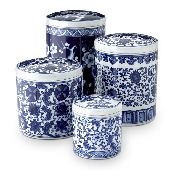 Blue White Ceramic Canisters Kitchen Counter Organizers Williams Sonoma
