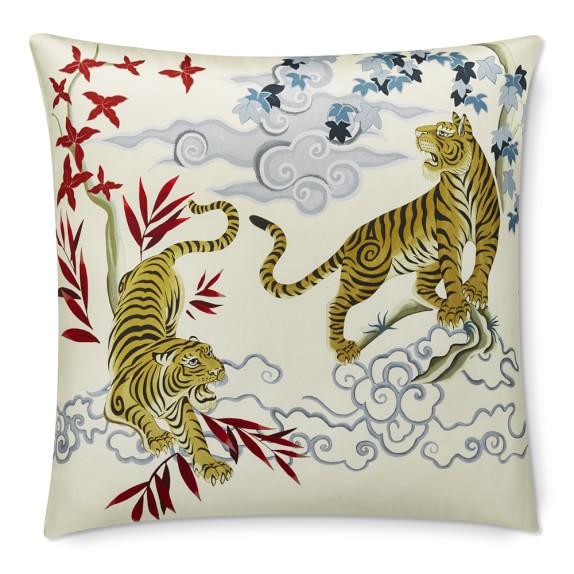 Kalden Tiger Printed Silk Throw Pillow Williams Sonoma