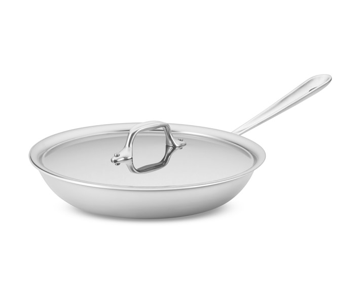 All Clad D3 Tri Ply Stainless Steel Traditional Covered Frying Pan Williams Sonoma