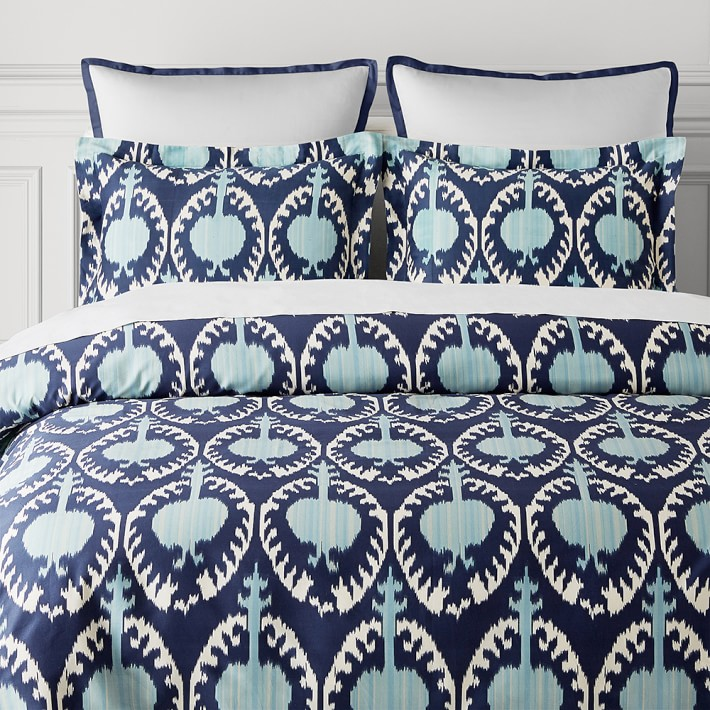 Printed Marrakesh Ikat Luxury Duvet Cover Shams Williams Sonoma